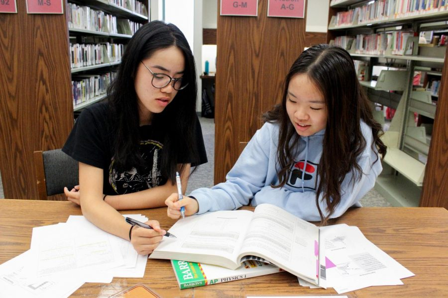 STUDY BUDDIES: Seniors Megan Lui and Allison Huang tackle physics practice problems together.
