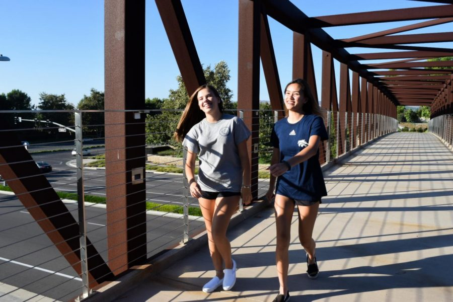 TAKE A HIKE: Sophomores Elyse Tran and Chloe Mumolo bask in Irvine's beauty.