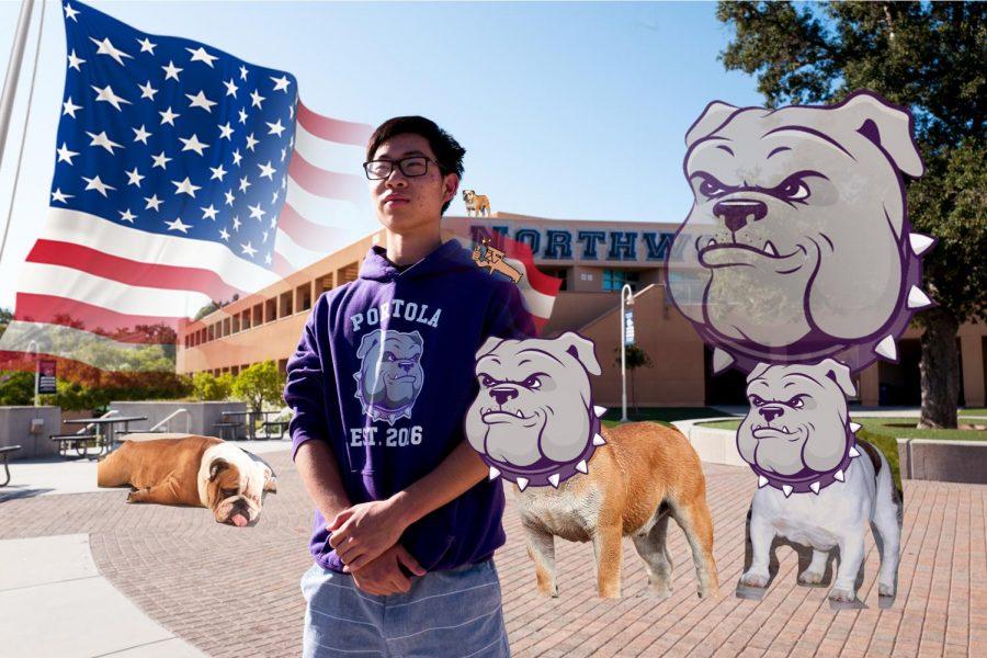 TRUE COLORS: Senior Dylan Yee shows off school pride for friendly local Portola High School.