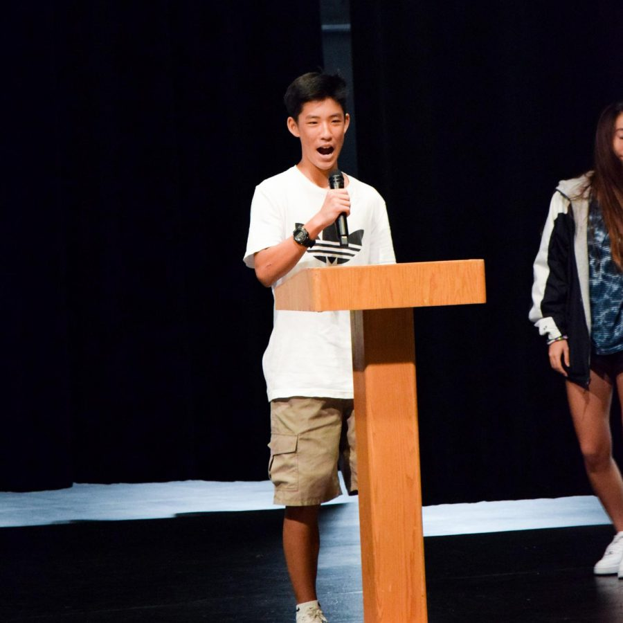 YOUR NEW ASB MEMBERS: Election winner freshman Jonathan Kang gives his campaign speeches on why fellow students should vote for him.