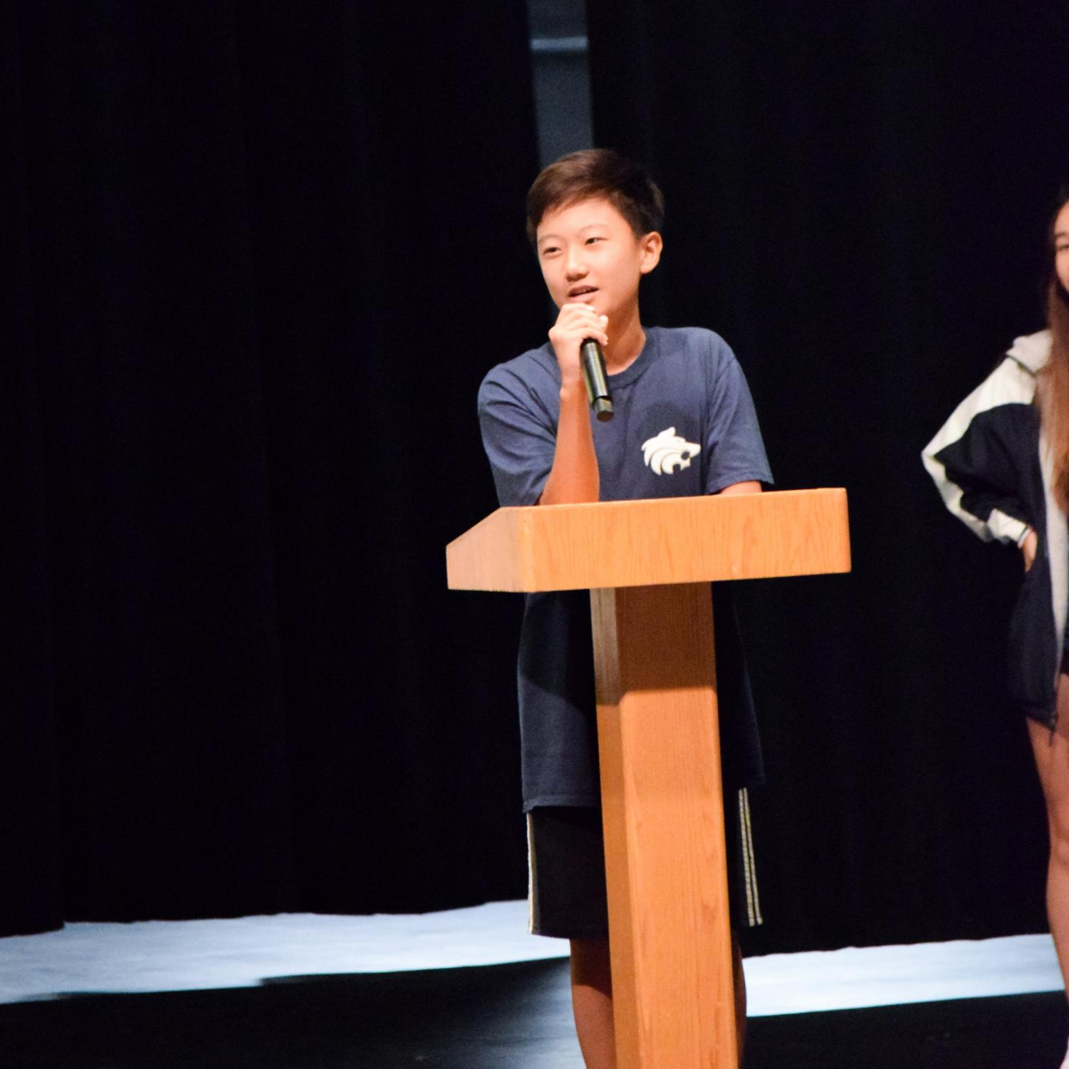 YOUR NEW ASB MEMBERS: Election winner freshman Sean Lee gives his campaign speech on why fellow students should vote for him.