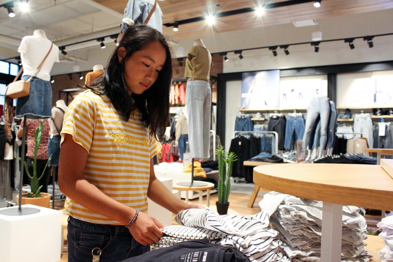 THE DEVIL WEARs POLYMERS: Senior Ally Chao shops at Cotton On.
