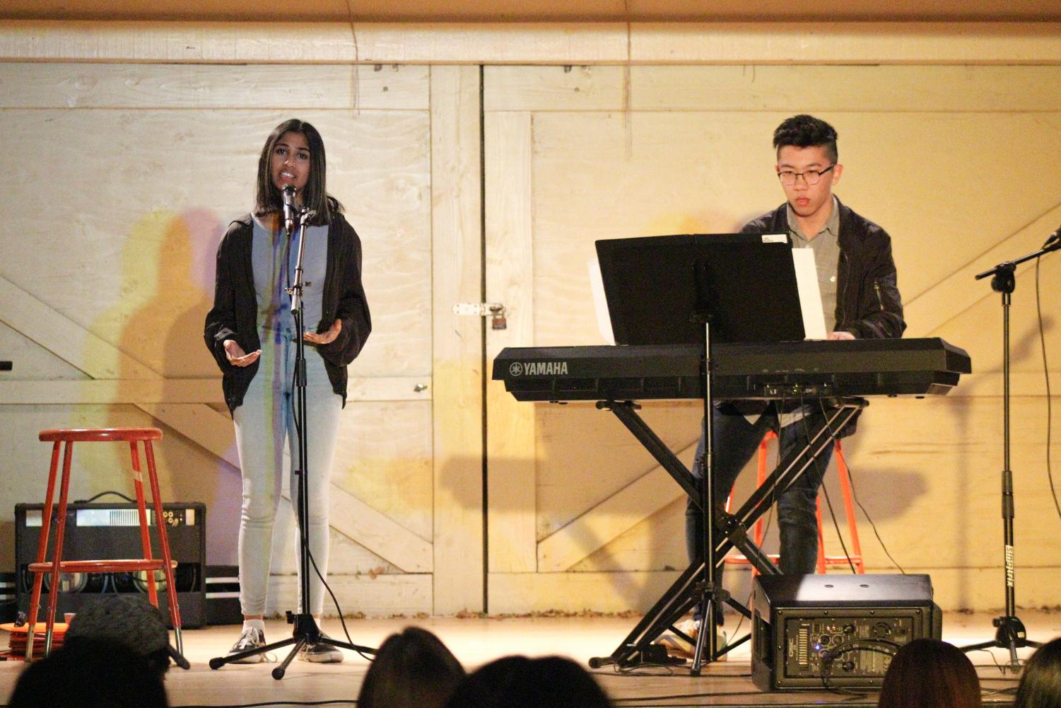 "THE PERFECT DUO: Juniors Samridi Iyer and Sean Yan perform the song ""Jealous"" by Labrinth on stage."