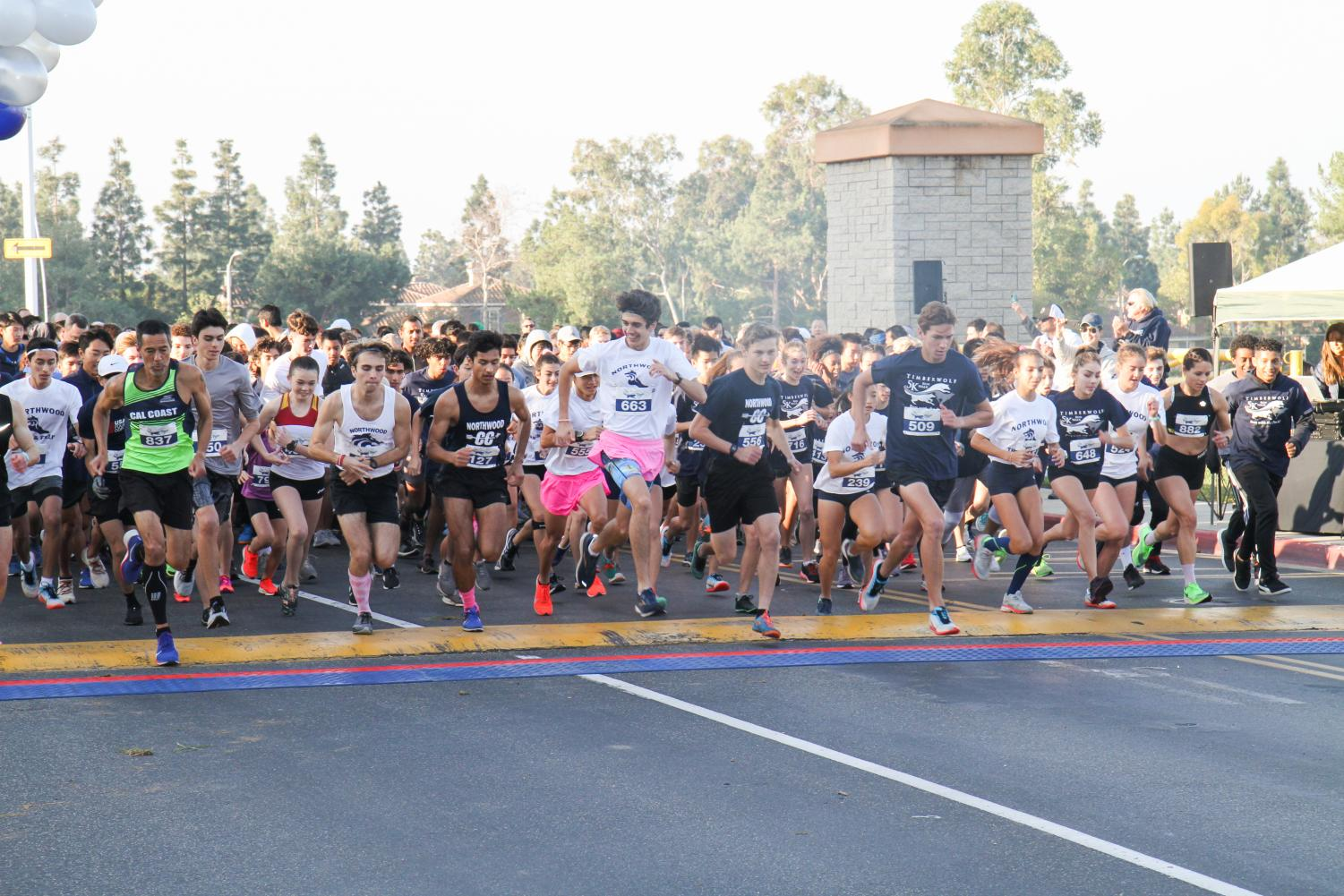 READY, SET, GO: 5k runners take off at the starting line.