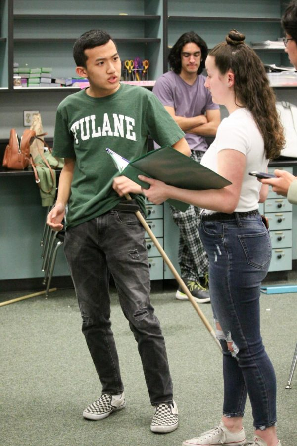 BEHIND THE SCENES: Seniors Jeneen Elbershawi and Amala Neervannan rehearse afterschool as the show approaches.