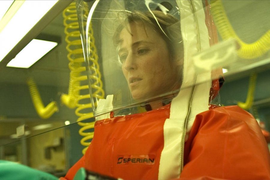 "ENDLESS WORK: Dr. Ally Hextall works in a lab to find the origins of the virus to develop a vaccine in ""Contagion."""