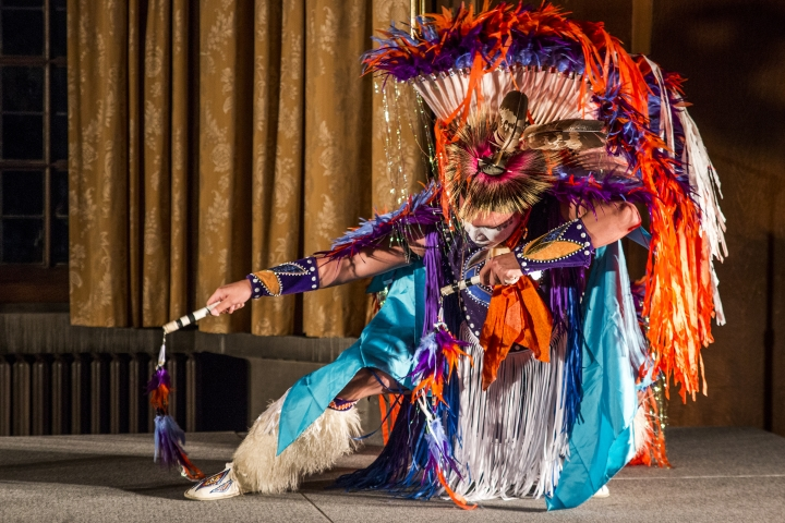 Native+American+Samsoche+Sampson+performs+a+dance+at+a+Native+American+Heritage+Month+celebration.+