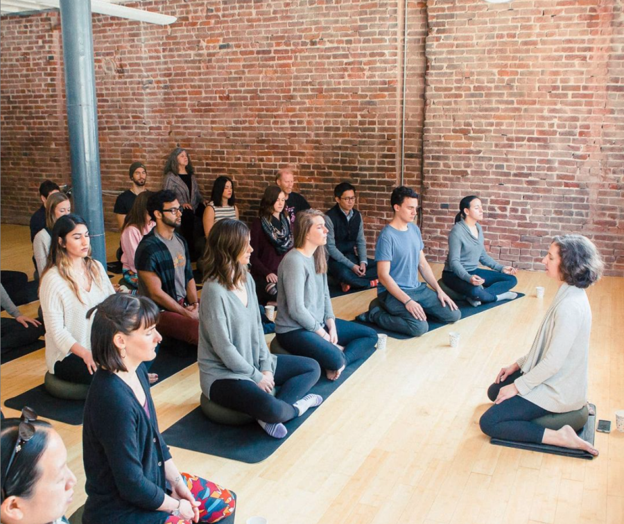 BRANCHING OUT: Although sessions look different now than above, the sense of community prevails, reaching meditators around the globe.