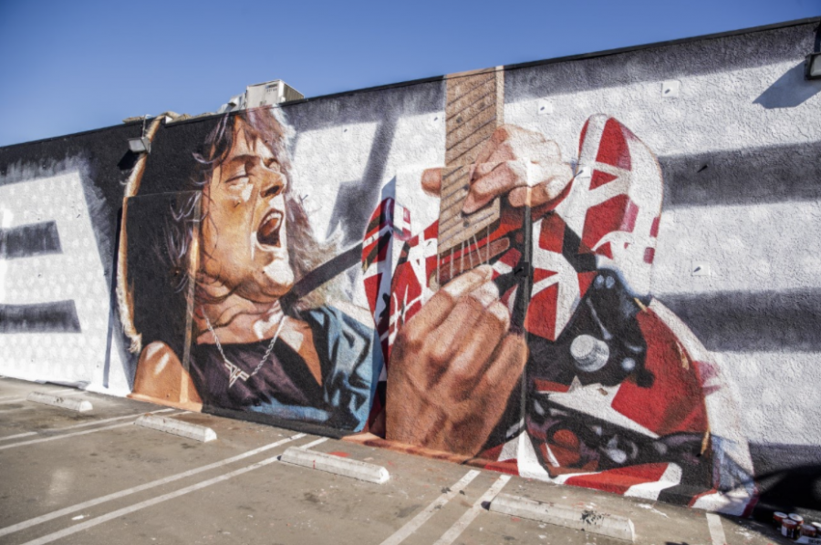 Painted by renowned artist Robert Vargas on Guitar Center's iconic hollywood location, this mural depicts Halen playing his signature Frankenstrat guitar.