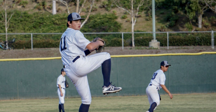 BATTER UP!: Sophomore Brandon Luu focuses in on the opponent, in search of a strike.