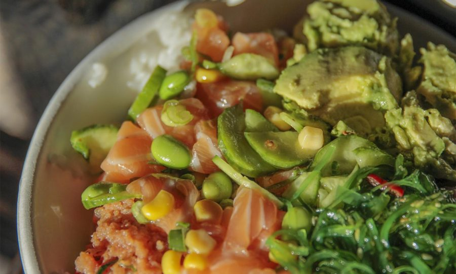 KETO HAP(PEA)NESS:  Salmon poke bowls, topped with peas, avacados and seaweed, is a student favorite.