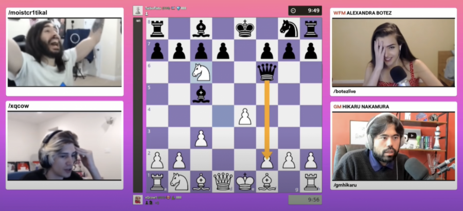 xQc loses to MoistCr1TiKaL in six moves by an opening checkmate trap similar to the Scholar's Mate.