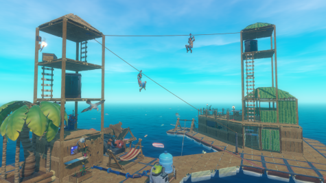 A WHOLE NEW WORLD: Raft encourages players to mess around with their friends as they develop their raft on an open sea.