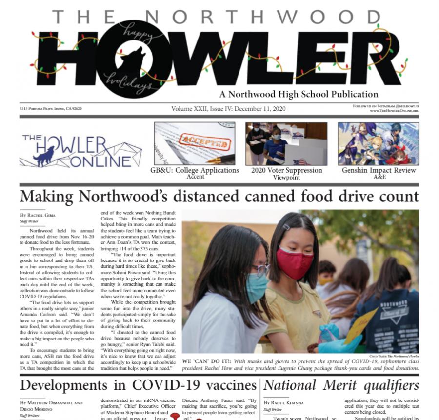 December Howler Volume XXII, Issue IV