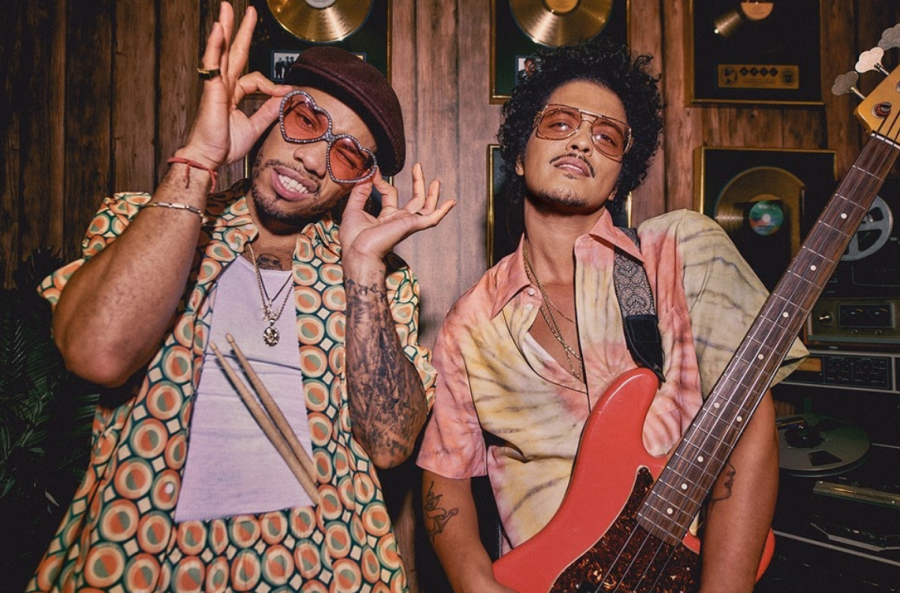 BREAKING CHARTS AND SWOONING HEARTS: Bruno Mars and Anderson .Paak pose for their Lacoste collaboration line.