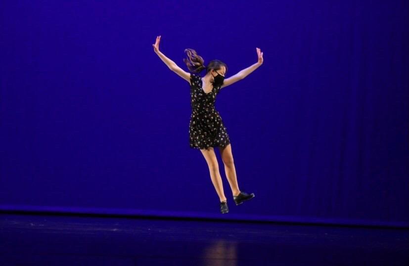 LEAP! : Senior Anessa Davies Pier flies across the stage.
