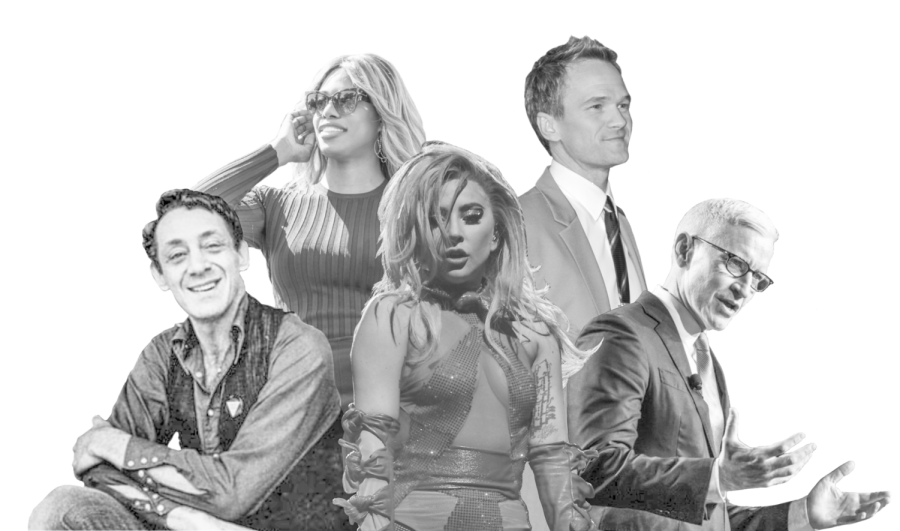 LGBTQ+ TRAILBLAZERS: (left to right) Harvey Milk, Laverne Cox, Lady Gaga, Neil Patrick Harris and Anderson Cooper, each prominent figures in their respective fields.